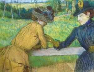 two-women-leaning-on-a-gate-edgar-degas